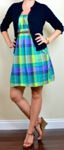 outfit post: plaid dress, navy cardigan, tan wedges