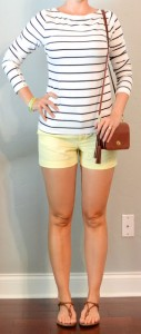 outfit post: striped shirt, yellow shorts, braided sandals