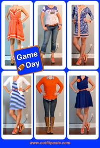 outfit post: orange and blue game day looks