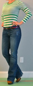 outfit post: green striped long sleeved, pink belt, bootcut jeans