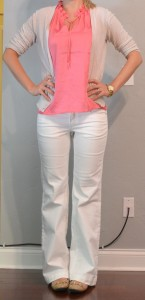 outfit post: coral top, white pants, cream cardigan