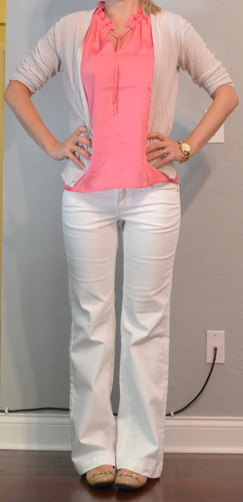 Outfit post coral top white pants cream cardigan