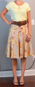 outfit posts: yellow t-shirt, floral skirt, wide brown belt