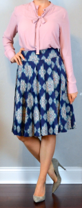 outfit post: pink tie-neck blouse, navy and pink mosaic full skirt, grey pointed toe heels