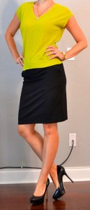 outfit post: citron green sweater, black pencil skirt