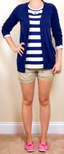 outfit post: striped sweater, khaki shorts, navy boyfriend cardigan, pink boat shoes