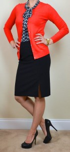 outfit post: navy tie-neck blouse, red cardigan, black pencil skirt