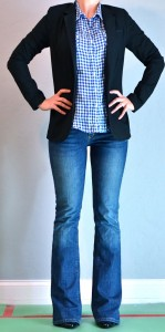 outfit posts: blue plaid shirt, black jacket, jeans