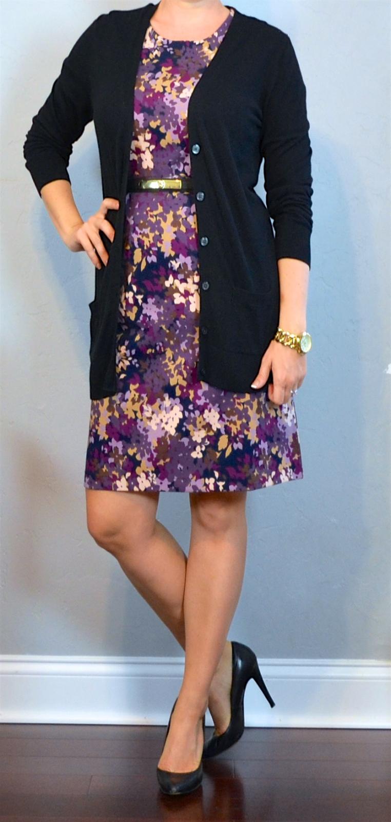 outfit post: purple floral sheath dress, purple cardigan