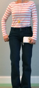 outfit post: red striped long sleeved, high waisted jeans
