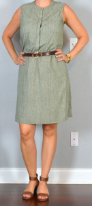 outfit post: printed green crepe shirt dress, brown sandals