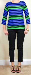 outfit post: blue & green striped top, black cropped pants
