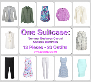 one suitcase: summer business casual capsule wardrobe – 12 clothing pieces