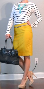 outfit post: mustard pencil skirt, striped shirt, teal necklace