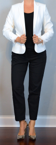 outfit post: white blazer, black ankle pants, snakeskin pointed toe pumps