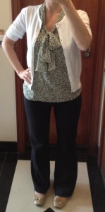 outfit post: green tie front blouse, white cardigan, black pants