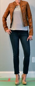 outfit post: jean skinnies, striped top, tan pleather jacket