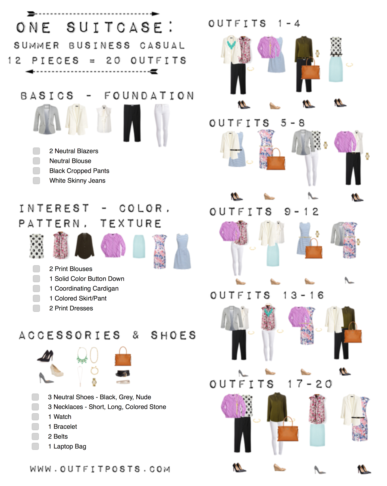 one suitcase checklist: summer business casual capsule ...