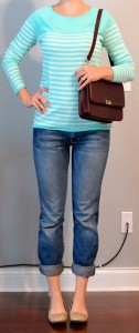outfit post: mint striped long sleeved shirt, bootcut jeans, nude flats