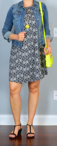 outfit post: patterned shift dress, jean jacket, black t-strap wedges