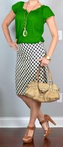 outfit post: kelly green blouse, polka-dot pencil skirt