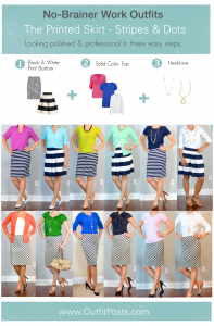 """outfit post: no-brainer work outfits """"The Printed Skirt Formula"""""""