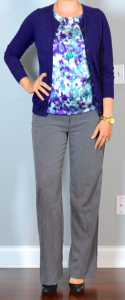 outfit post: grey pants, purple & turquoise shell, purple cardigan, black pumps