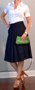 outfit posts: navy midi skirt, white button down blouse, green clutch