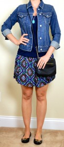 outfit post: ikat print skirt, navy t-shirt, jean jacket