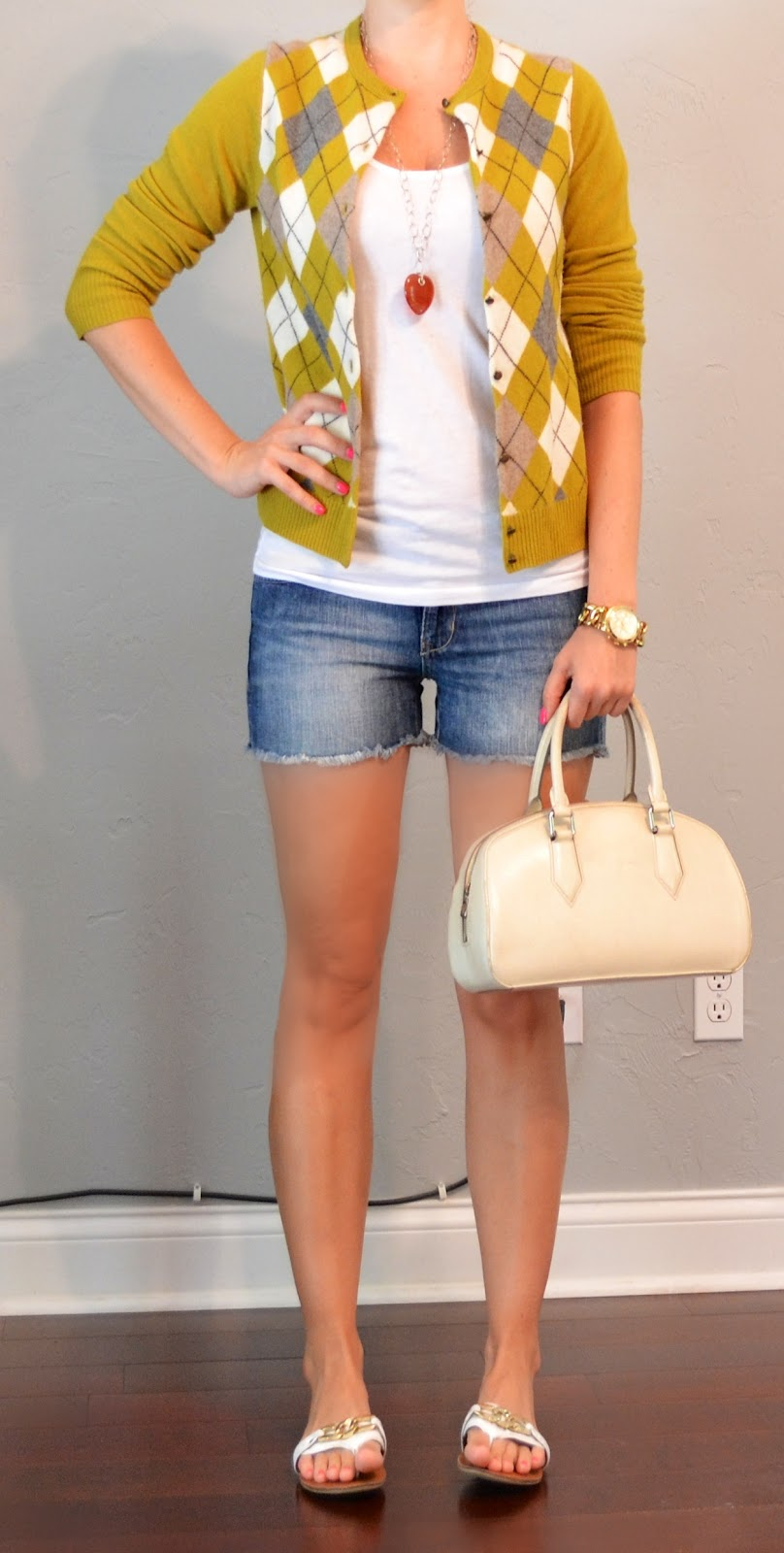 Outfit Post Argyle Cardigan Jean Shorts