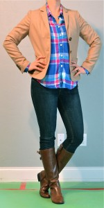 outfit post: bright plaid shirt, boots and blazer