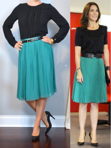 outfit post: black pleated blouse, teal midi skirt, black pumps