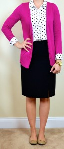 outfit post: polka-dot blouse, pink cardigan, black pencil skirt