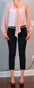 outfit posts: pink tie blouse, black cropped pants, purple pumps