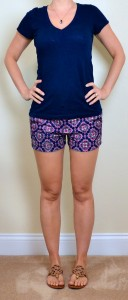 outfit posts: paisley shorts, navy t-shirt, brown sandals