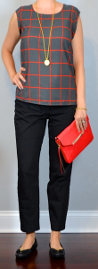 outfit post: red windowpane blouse, black ankle pants, black bow toed flats