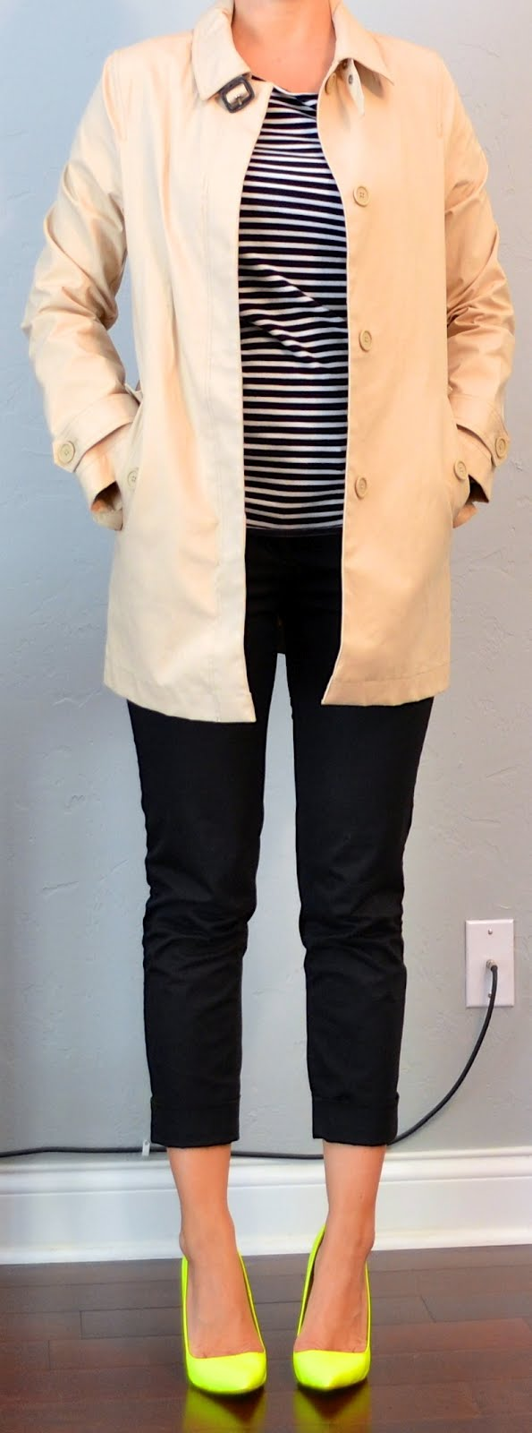 Outfit post striped shirt black cropped pants tan trench neon yellow shoes
