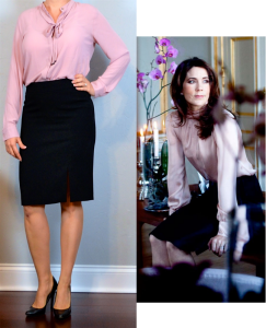 outfit post: pink bow blouse, black pencil skirt, black pumps