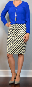 outfit post: cobalt button blouse, polka dot pencil skirt, grey pointed toe heels