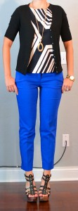 outfit post: graphic black and white top, blue cropped pants, black cardigan