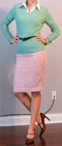 outfit posts: mint sweater, pink tweed skirt