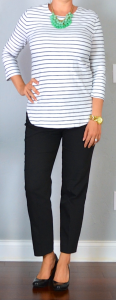 outfit post: striped top, black 'editor' ankle pants, black wedges