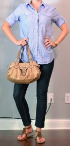 outfit post: skinny jeans, blue button down, gladiator sandals