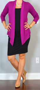 outfit post: black jersey pencil skirt, black tank top, pink drapey cardigan, nude wedges