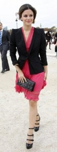 outfit post: coral dress, black jacket
