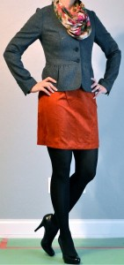 outfit post: grey jacket, rust skirt, floral scarf