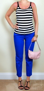 outfit post: striped tank, blue cropped pants, t-strap wedges
