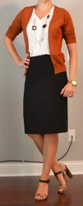 outfit posts: rust cardigan, black pencil skirt, white ruffle blouse