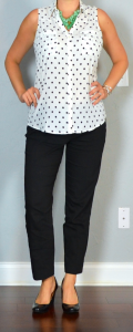 outfit post: polka-dot portofino tank, blank ankle pants, black pumps