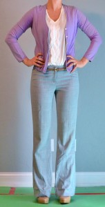 outfit post: purple cardigan, grey pants, gold belt
